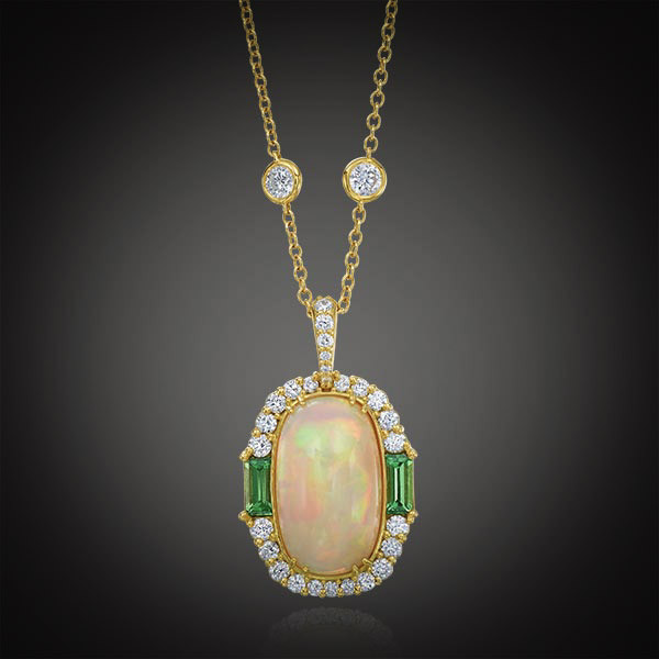 Robert Pelliccia Oval Opal, Diamond & Tsavorite Pendant