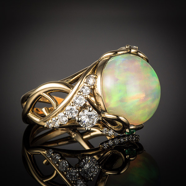 Robert Pelliccia Yellow Gold Opal, Emerald & Diamond Cocktail Ring Side 1 View