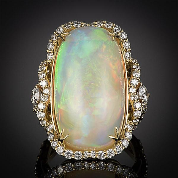 Robert Pelliccia Yellow Gold Oval Opal Diamond Ring Front View