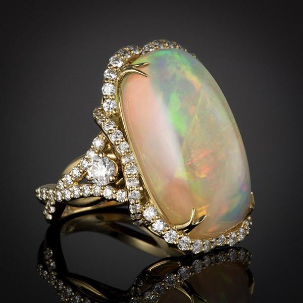 Robert Pelliccia Yellow Gold Oval Opal Diamond Ring Side View