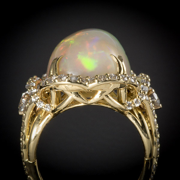Robert Pelliccia Yellow Gold Oval Opal Diamond Ring Top View