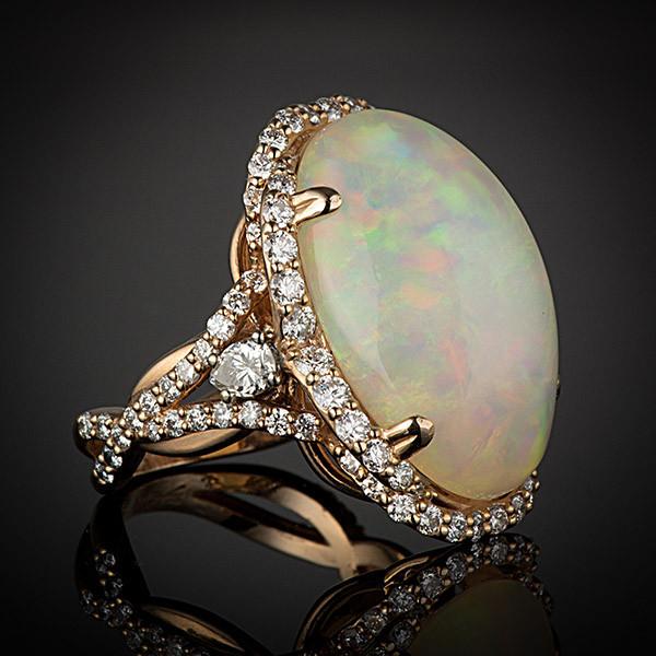 Robert Pelliccia Rose Gold Oval Opal & Diamond Ring Side View