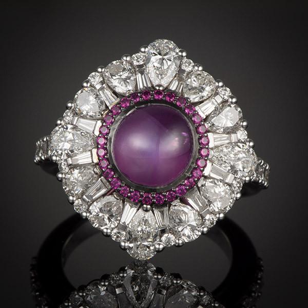 Robert Pelliccia White Gold Star Ruby & Diamond Ring Front View