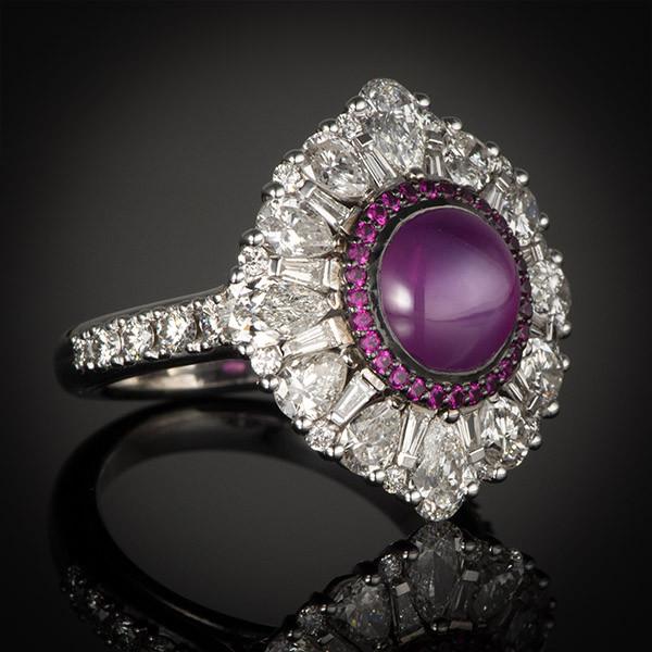 Robert Pelliccia White Gold Star Ruby & Diamond Ring Main View