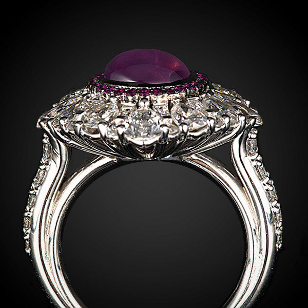 Robert Pelliccia White Gold Star Ruby & Diamond Ring Side View