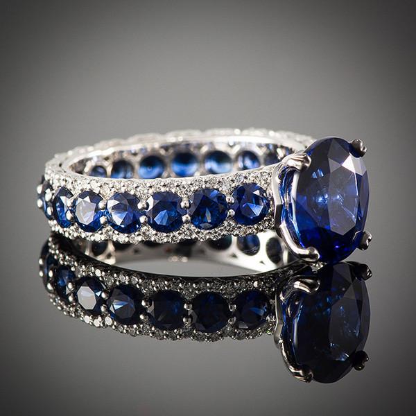Robert Pelliccia Romancina Oval Sapphire & Diamond Ring Side View