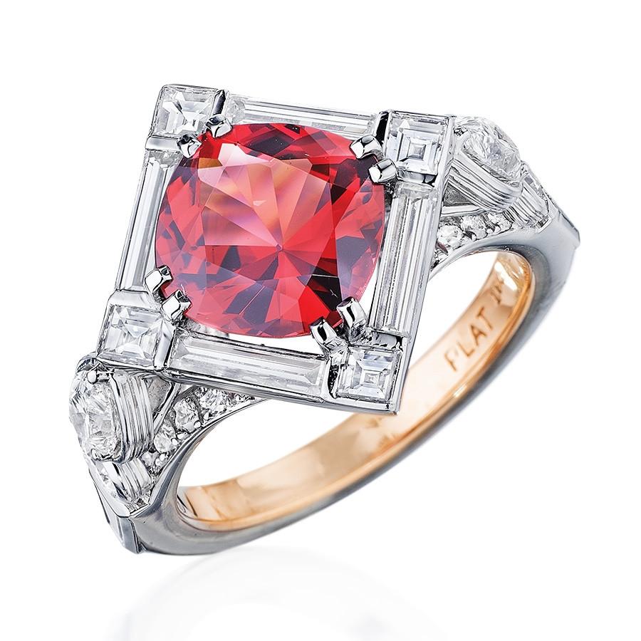 Robert Pelliccia Red Spinel & Diamond Platinum Ring white
