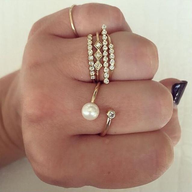 Zoe Chicco Yellow Gold Bezel Diamond Ring on Model