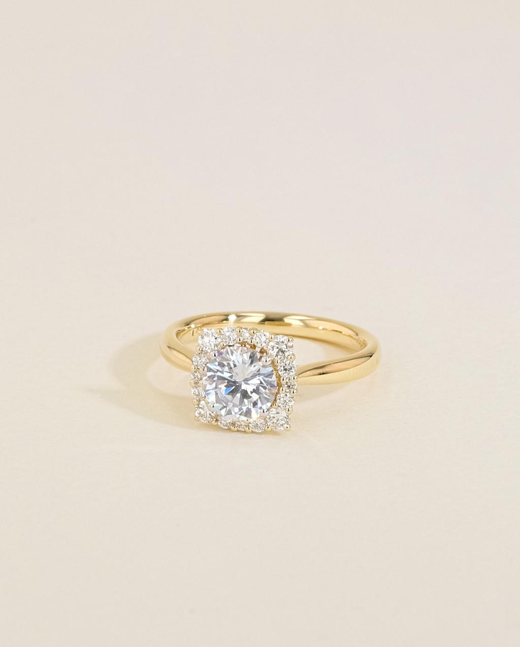 Vintage Diamond Cushion Halo Engagement Ring angle view