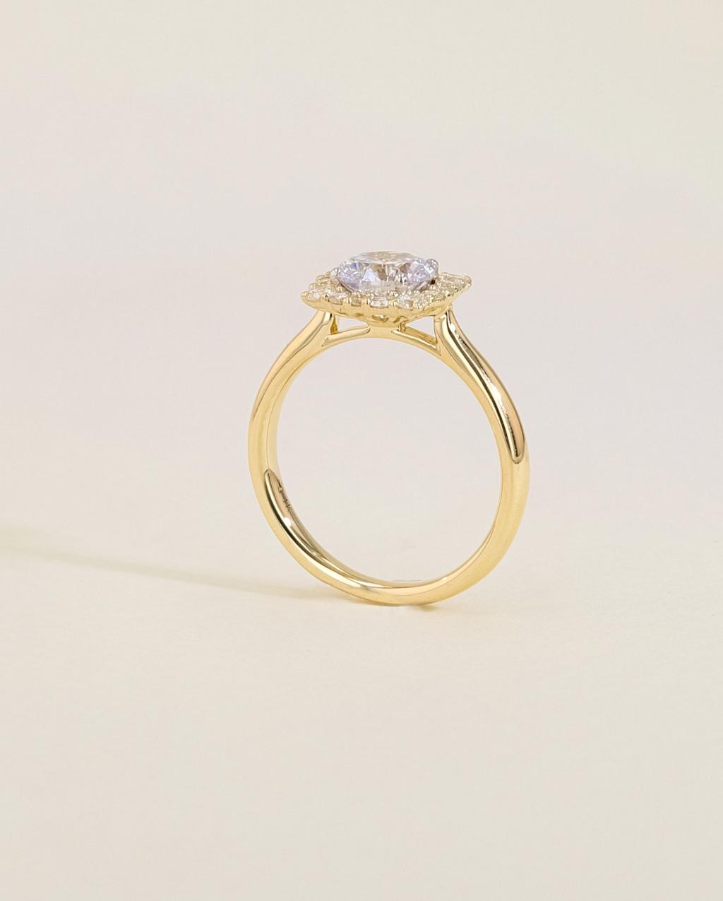 Vintage Diamond Cushion Halo Engagement Ring