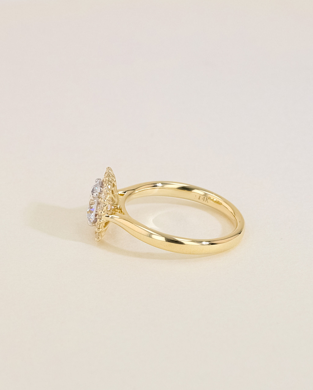 Vintage Diamond Cushion Halo Engagement Ring side view