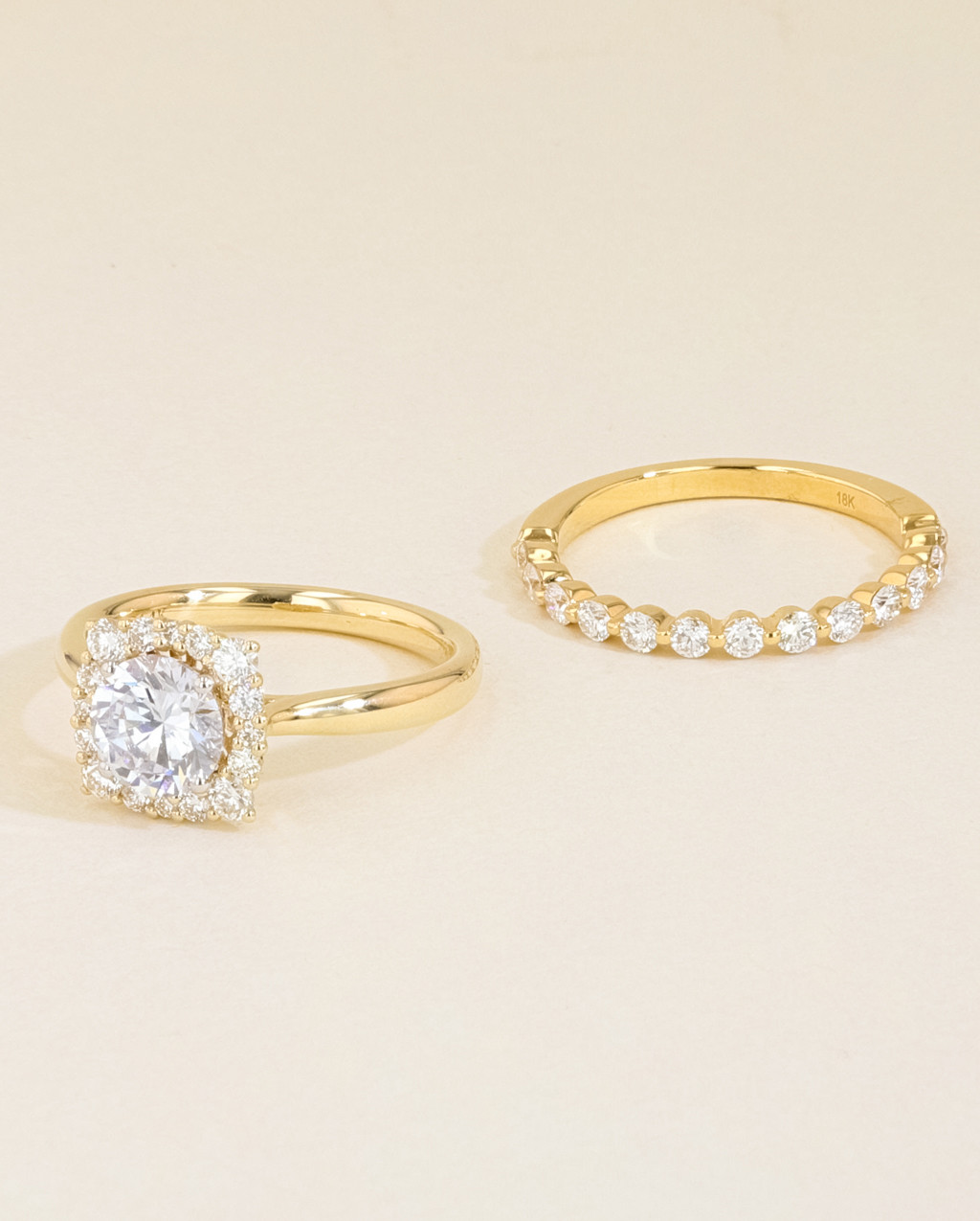 Vintage Diamond Cushion Halo Engagement Ring Set side by side