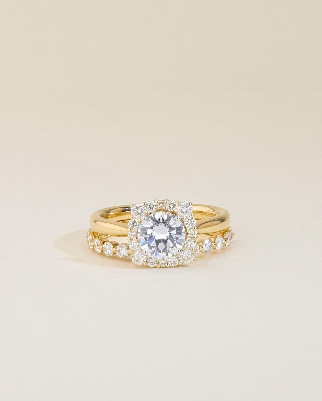 Vintage Diamond Cushion Halo Engagement Ring Set