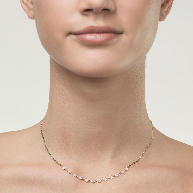 Lana Flawless Diamond Disc Collar Necklace on Model