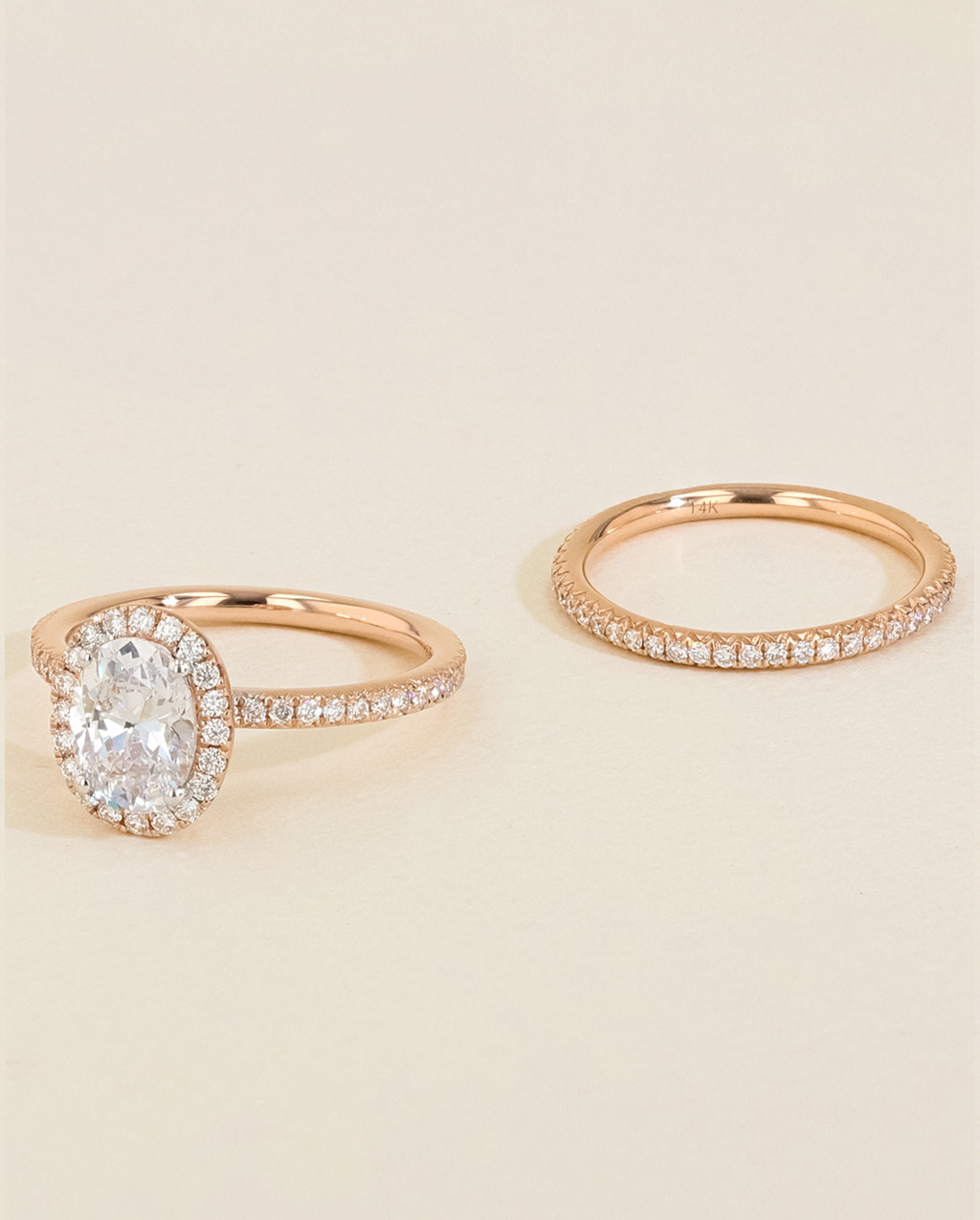 Diamond Pavé Halo Engagement Ring Set side by side