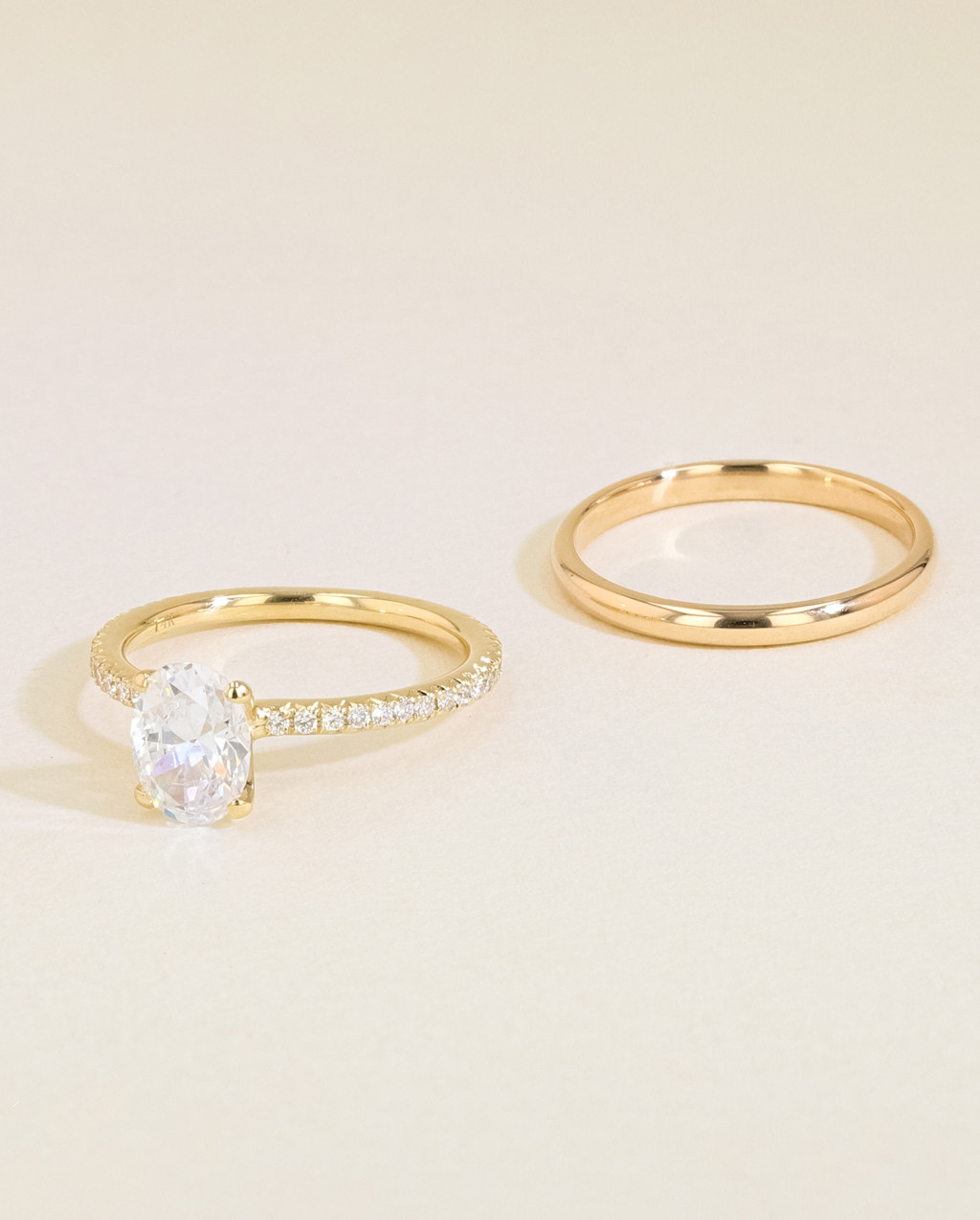 Solitaire Pavé Diamond Engagement Ring Set side by side