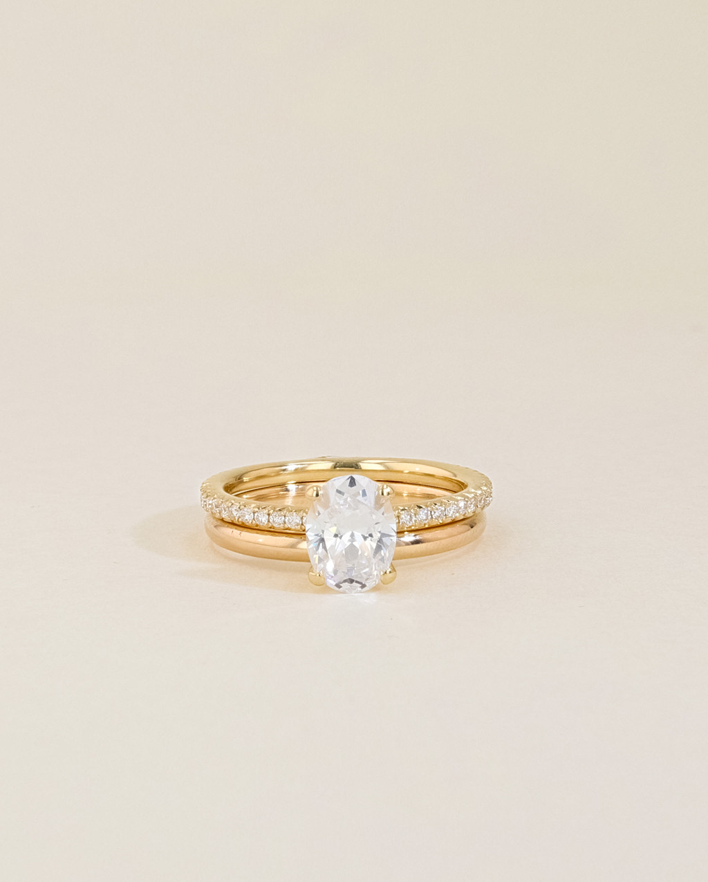 Solitaire Pavé Diamond Engagement Ring Set stacked