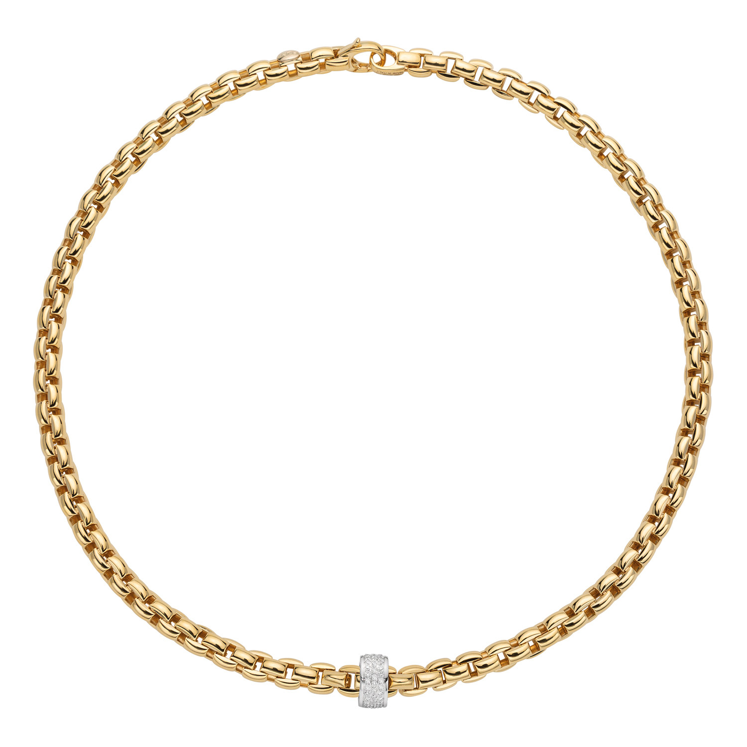 Fope EKA Yellow Gold Pave Diamond Station Necklace