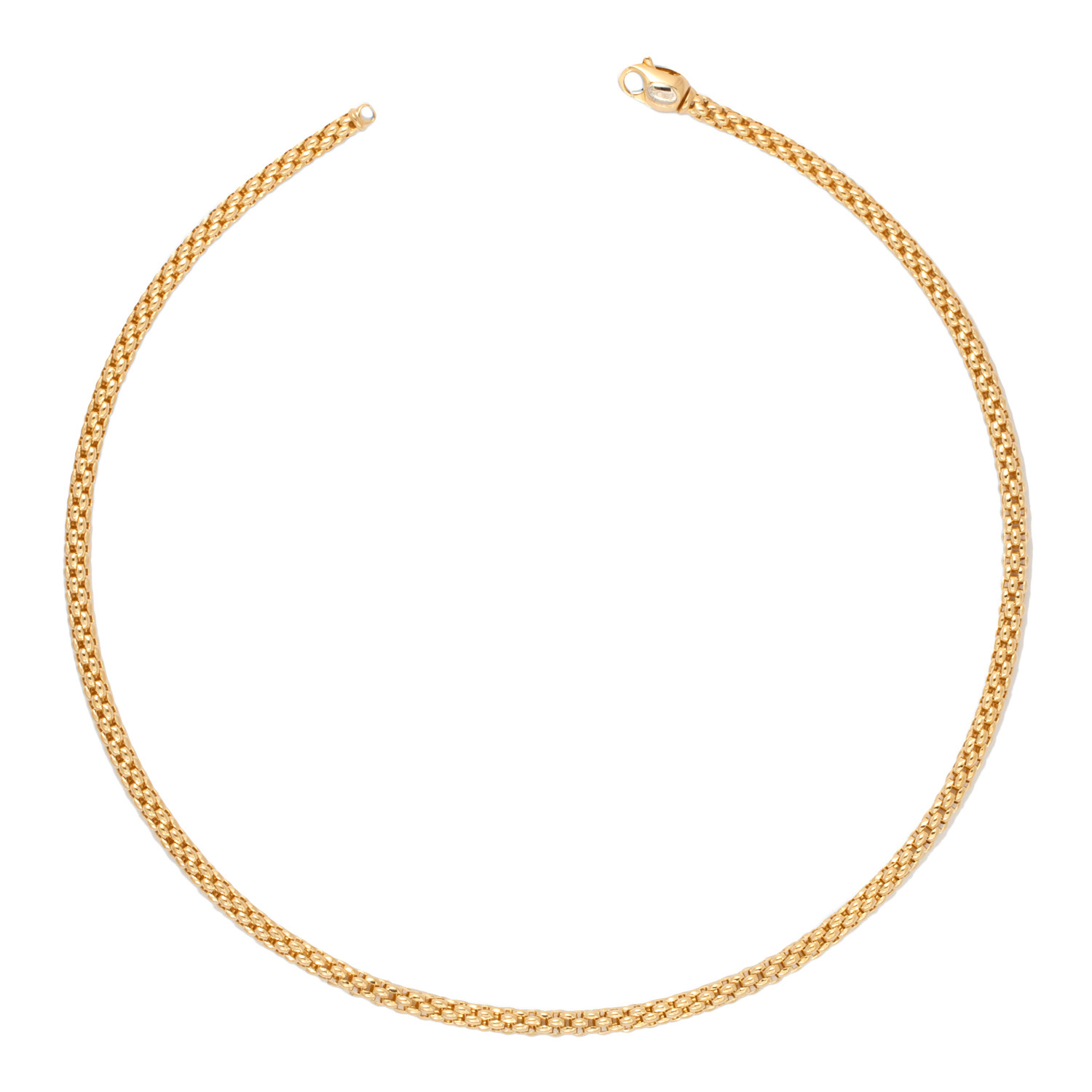 """Fope 4.5mm Unica Classic Mesh Yellow Gold Chain 17"""" Necklace"""
