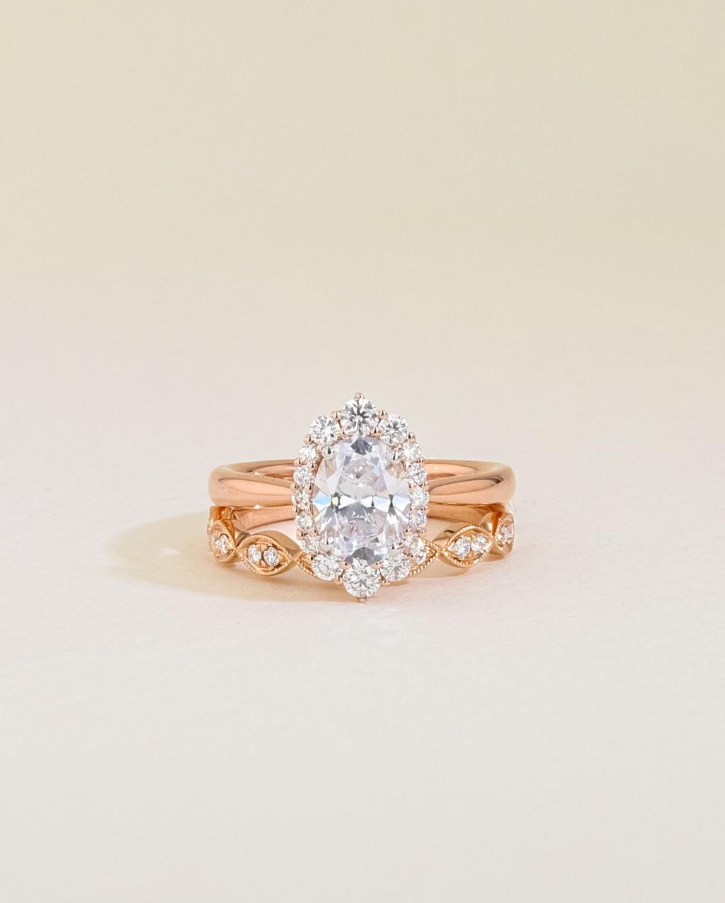 Vintage Diamond Halo Engagement Ring Set stacked