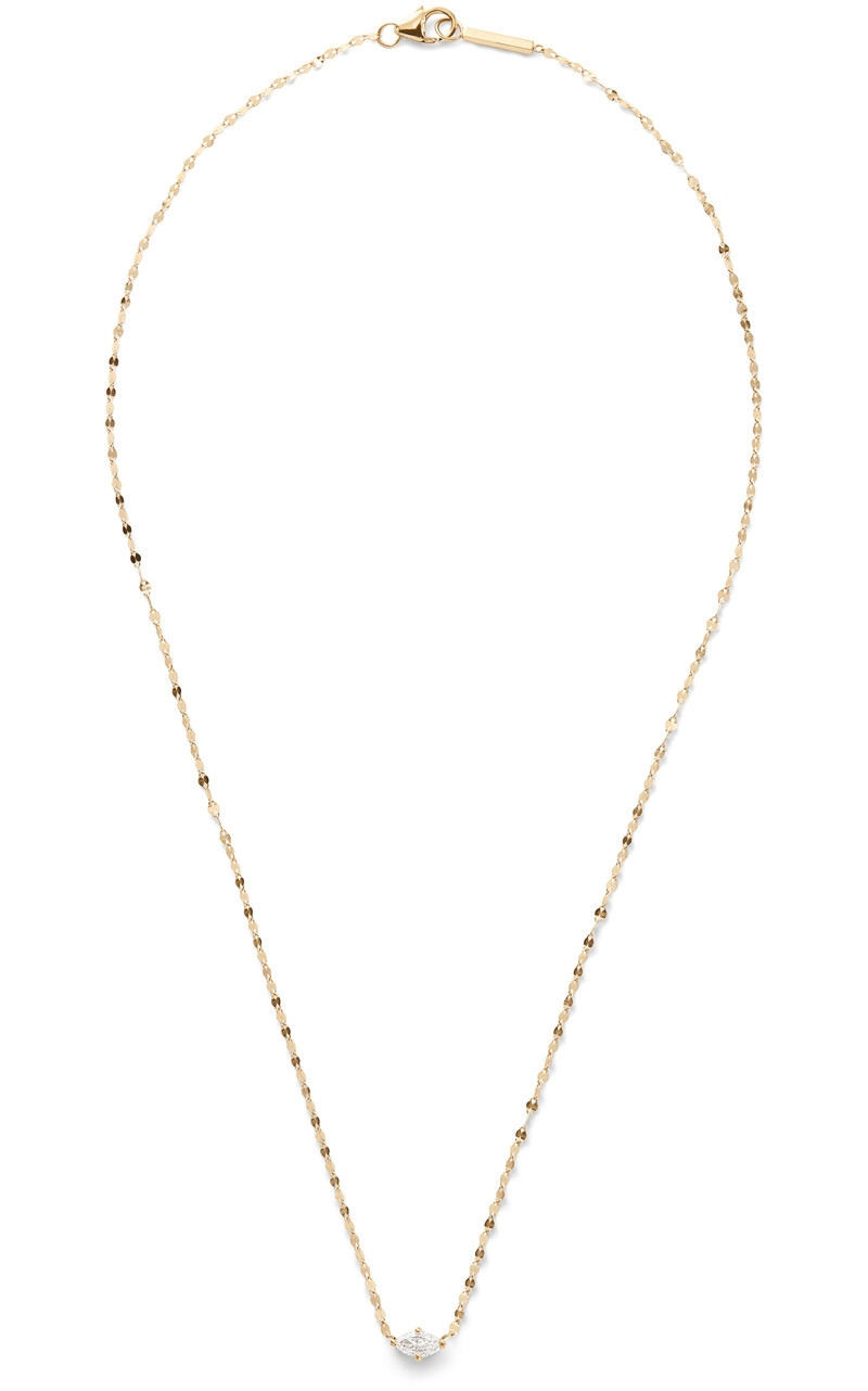 """Lana Vice Solo Marquis Pendant 18"""" Necklace in Yellow Gold"""