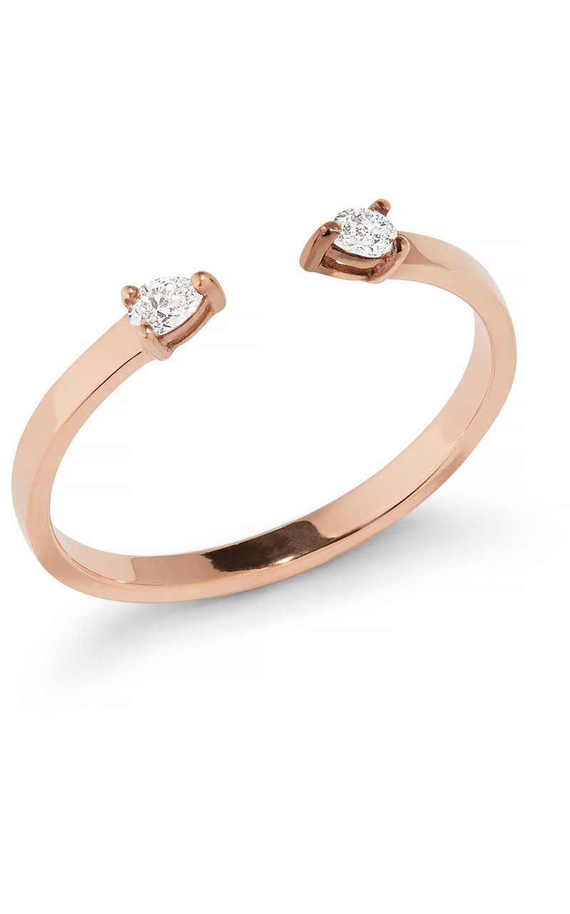 Lana Pear Diamond Open Ring in Rose Gold Size 6