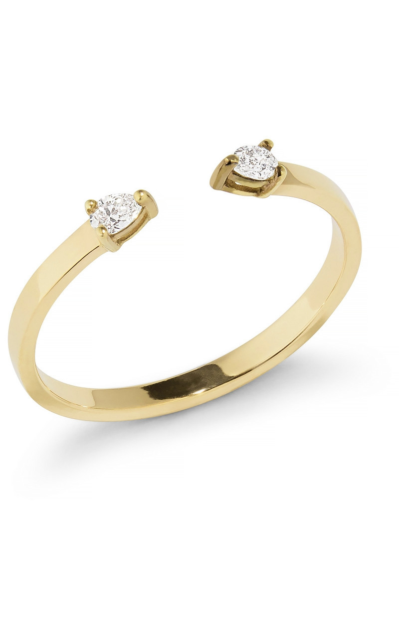 Lana Pear Diamond Open Ring in Yellow Gold Size 6