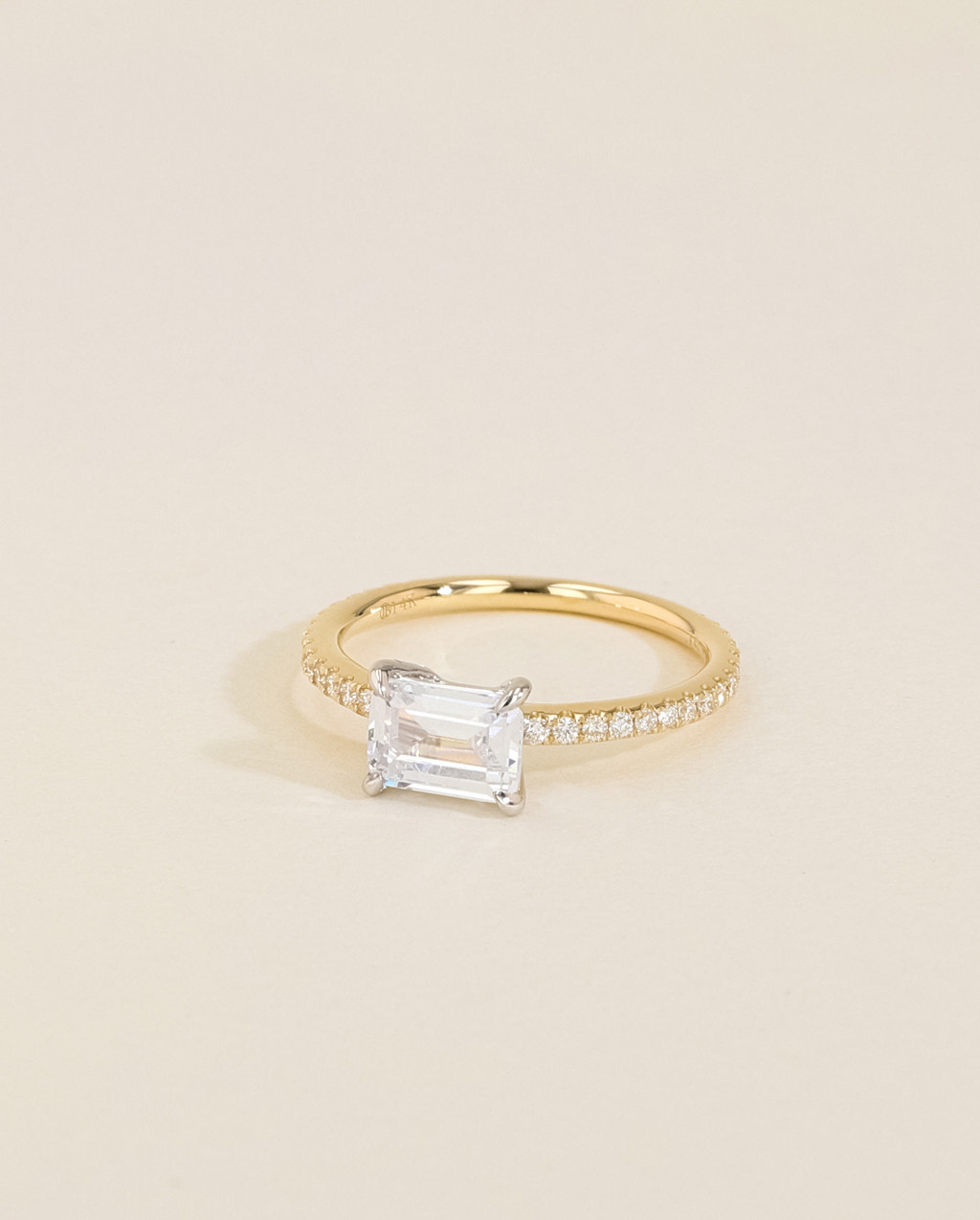 Solitaire Pavé Diamond Engagement Ring angle view