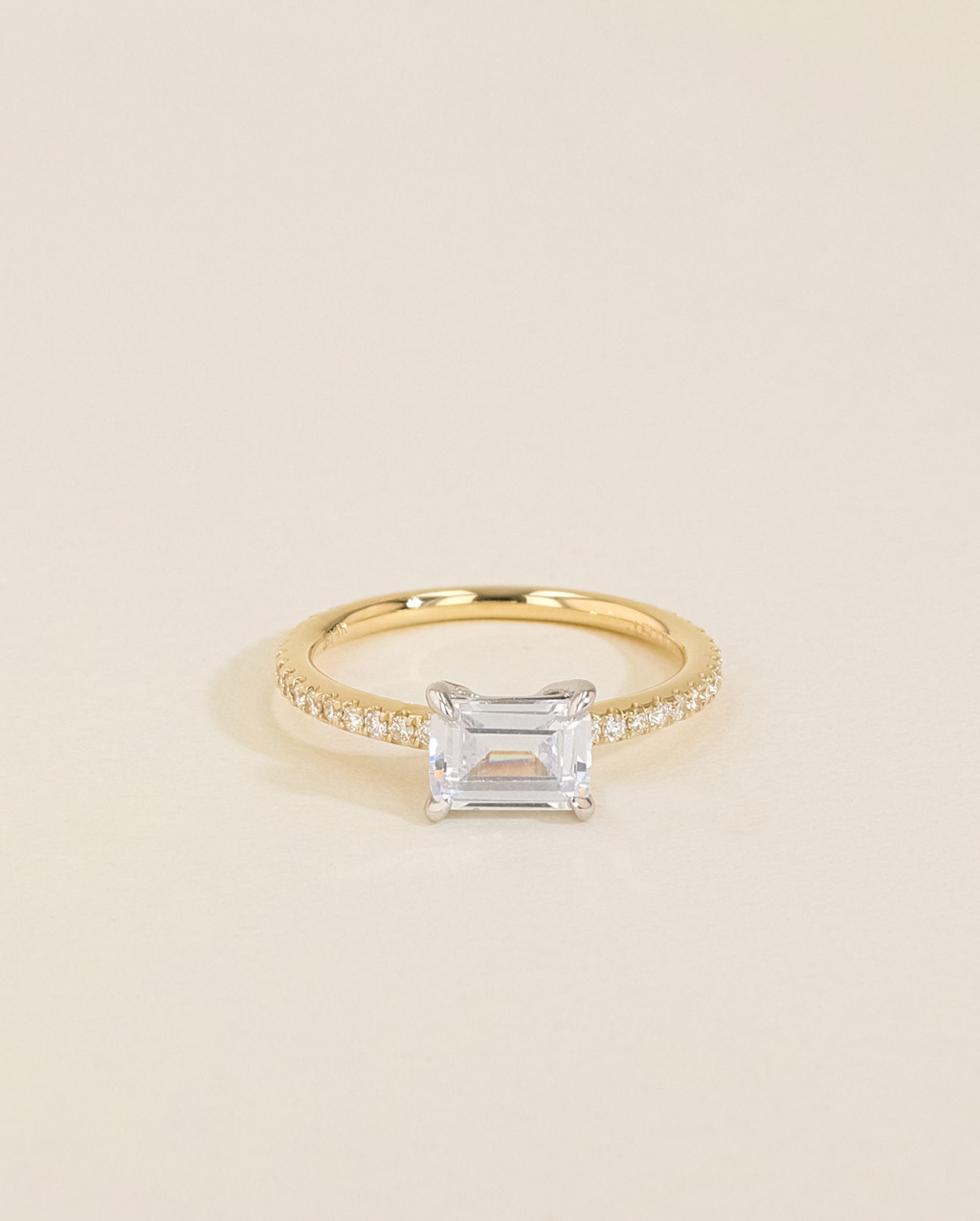 Solitaire Pavé Diamond Engagement Ring front view