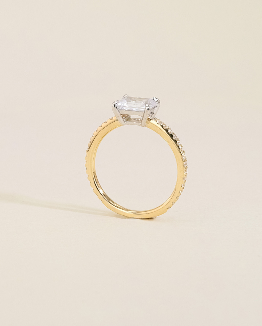 Solitaire Pavé Diamond Engagement Ring
