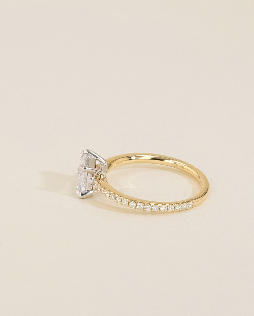 Solitaire Pavé Diamond Engagement Ring side view