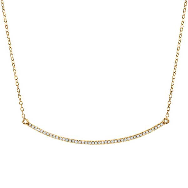 Yellow Gold Diamond Curved Bar Necklace