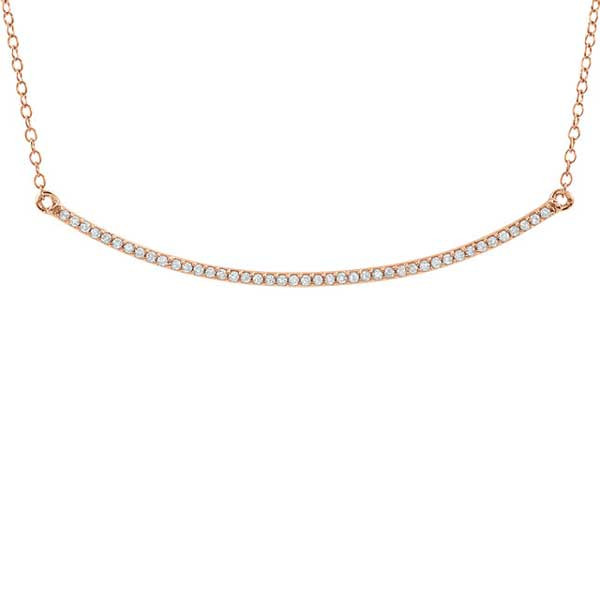 Rose Gold Diamond Curved Bar Necklace