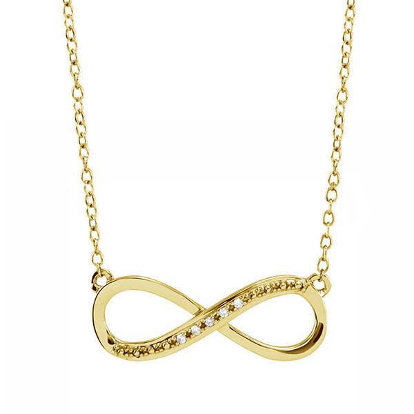 Yellow Gold Infinity Necklace with Diamonds