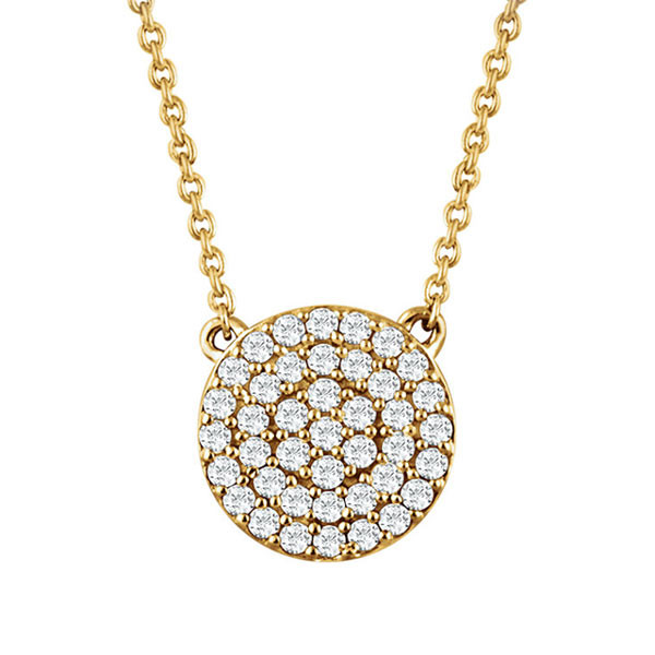 Yellow Gold Diamond Disc Pendant Necklace