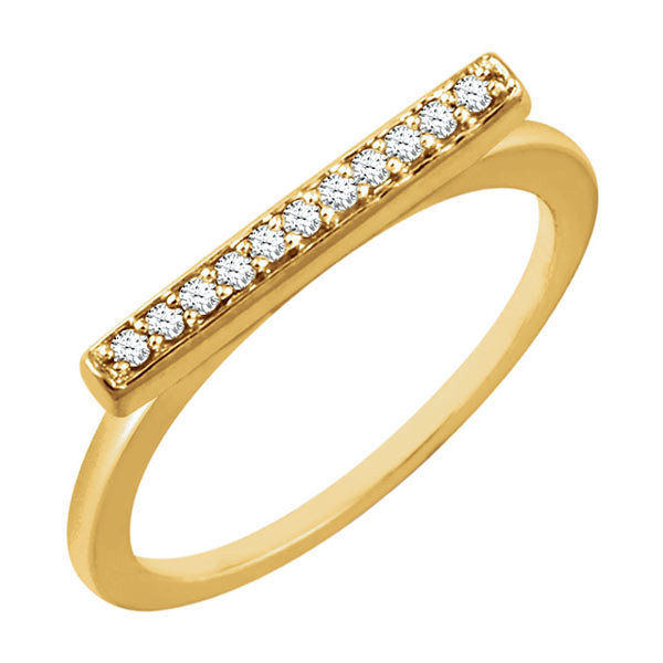 Yellow Gold Diamond Bar Ring