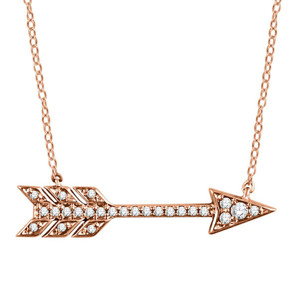 Rose Gold Diamond Arrow Pendant Necklace