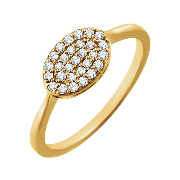 Yellow Gold Oval Diamond Cluster Ring