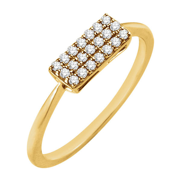 Yellow Gold Rectangle Diamond Cluster Ring