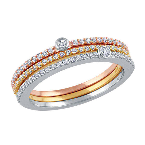 White, Yellow & Rose Gold Diamond Stackable Ring