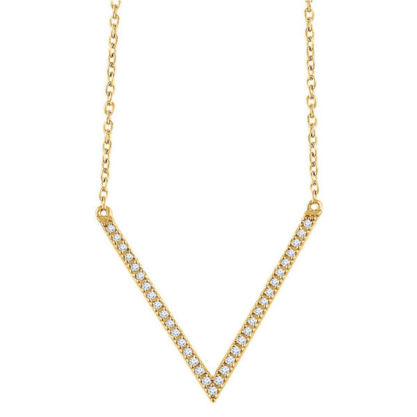 Yellow Gold Diamond V Necklace