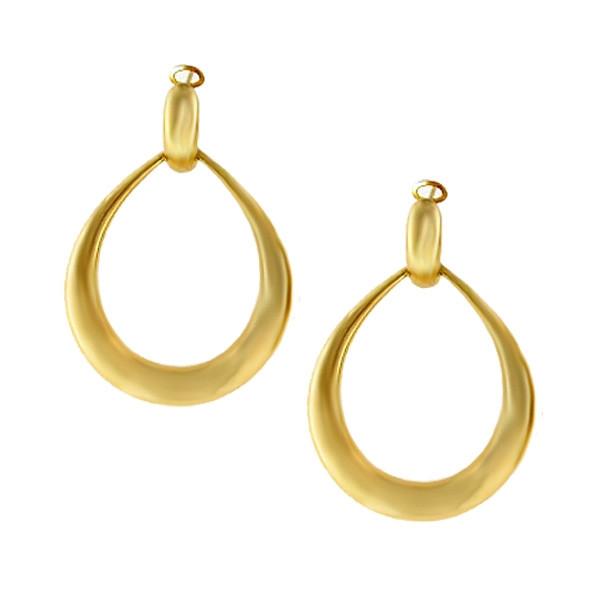 Roberto Coin Contoured Door-Knocker Yellow Gold Hoop Earrings