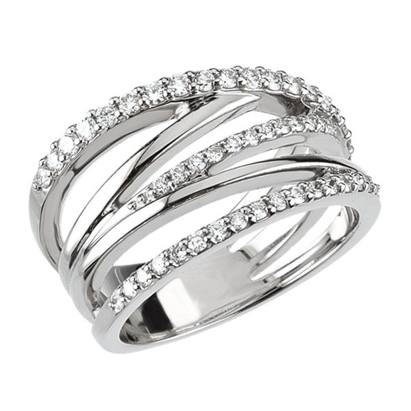 White Gold Diamond Crossover Ring