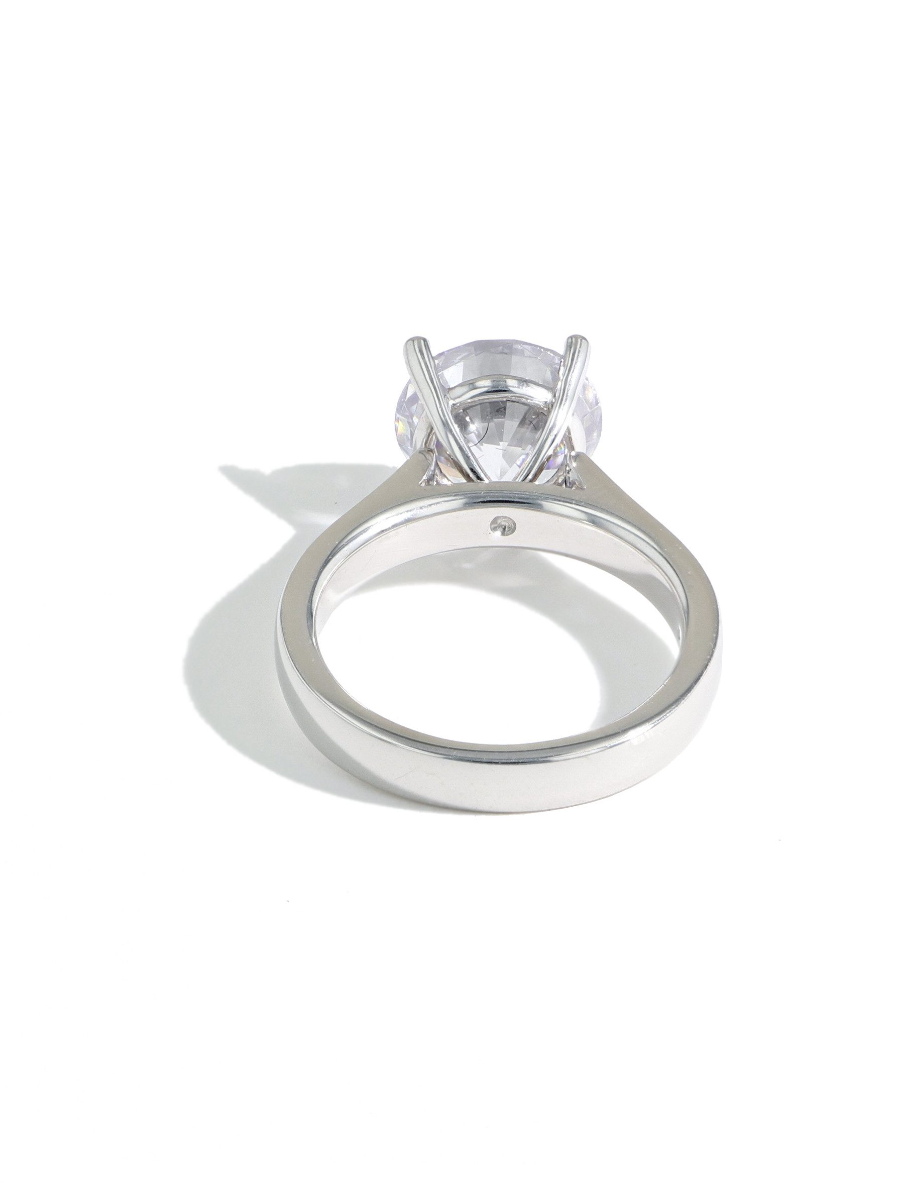 The Round Solitaire Engagement Ring Setting in Platinum back view