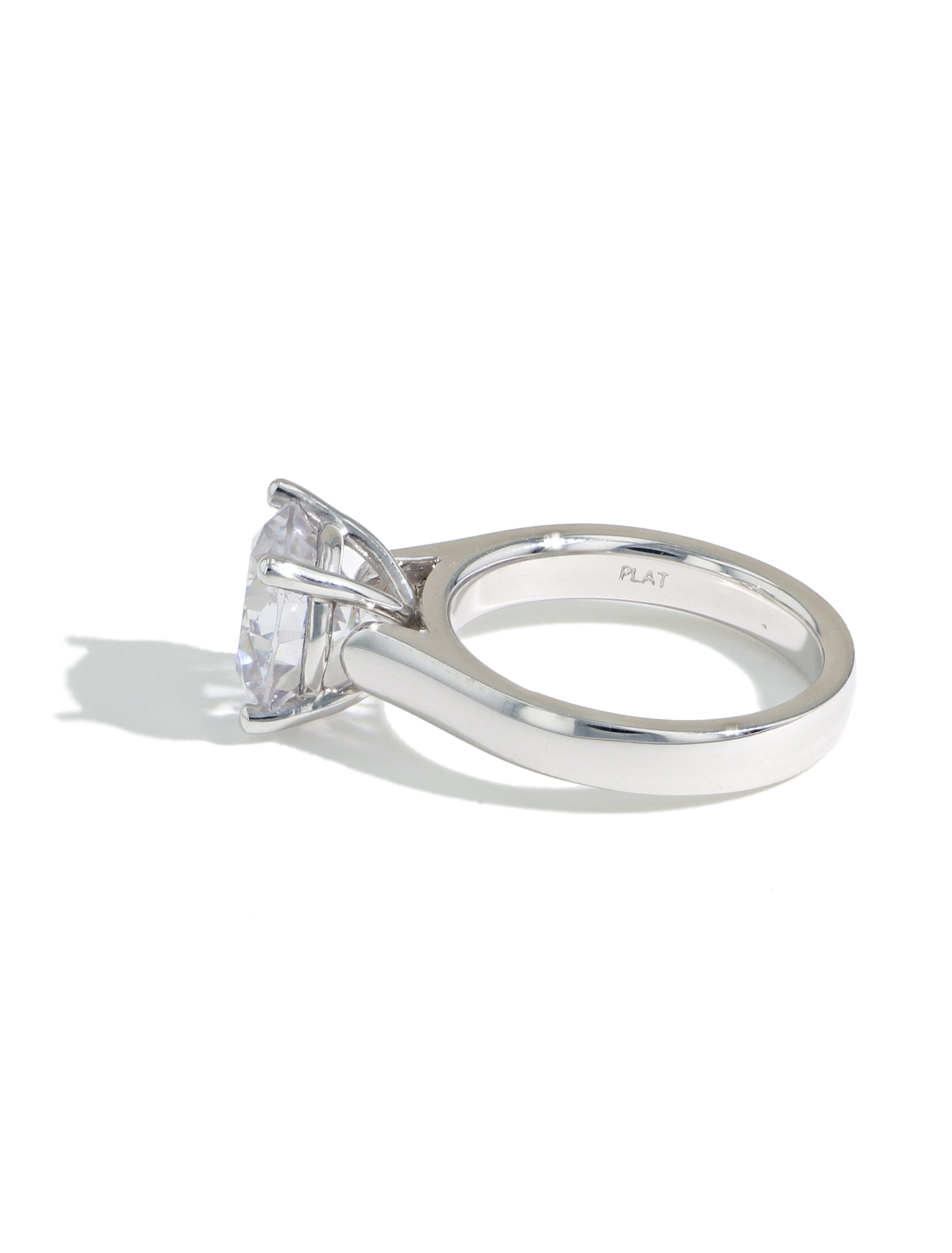 The Round Solitaire Engagement Ring Setting in Platinum side view