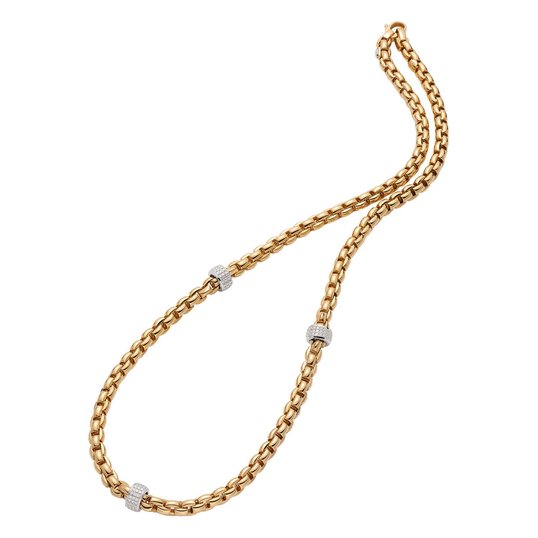 Fope EKA Yellow Gold Station Diamond Necklace