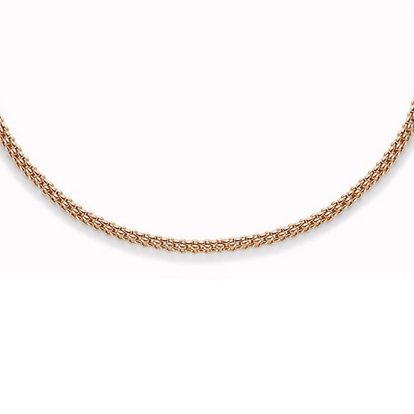 """Fope 18"""" Classic 2.8mm Rose Gold Mesh Necklace close up"""