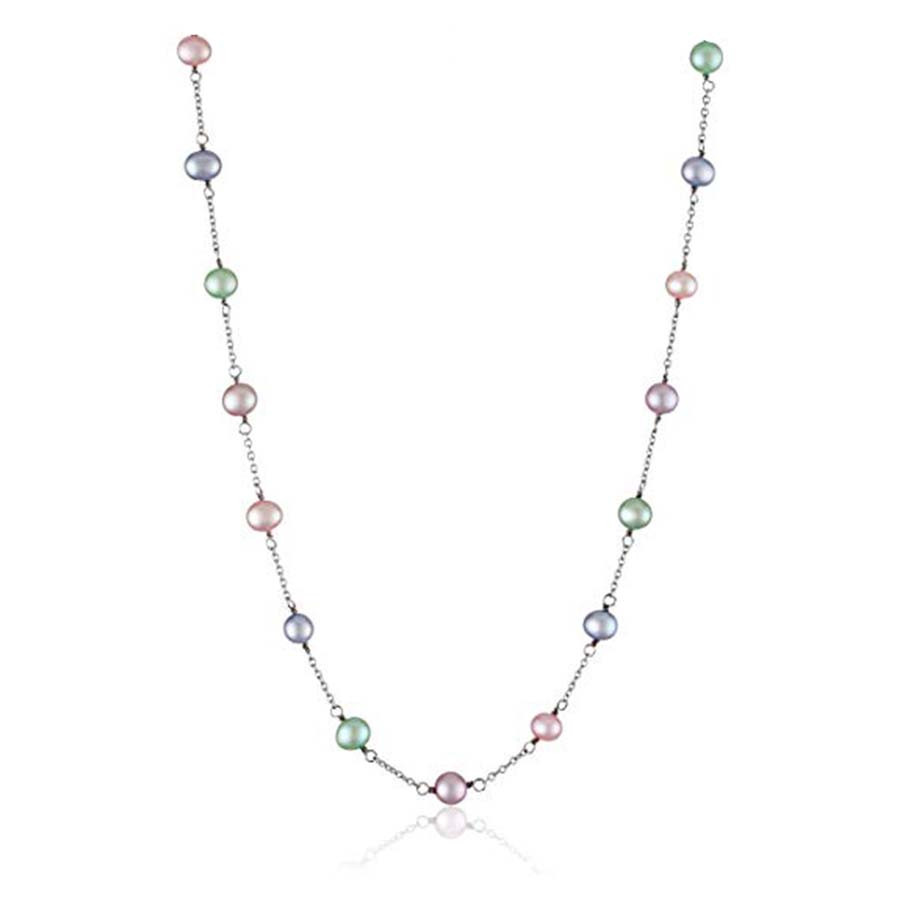 """Honora Girls Sterling Silver Candy Potato Candy Freshwater Pearl 15"""" Necklace"""