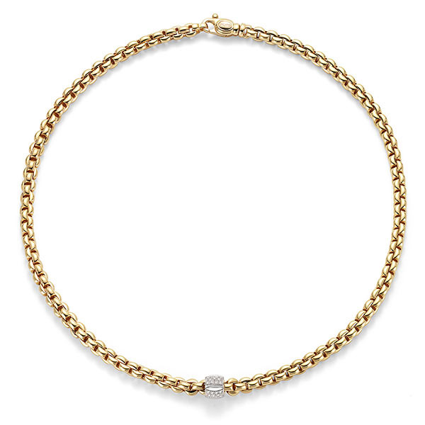 Fope Flex It Olly Yellow Gold Diamond Station Necklace