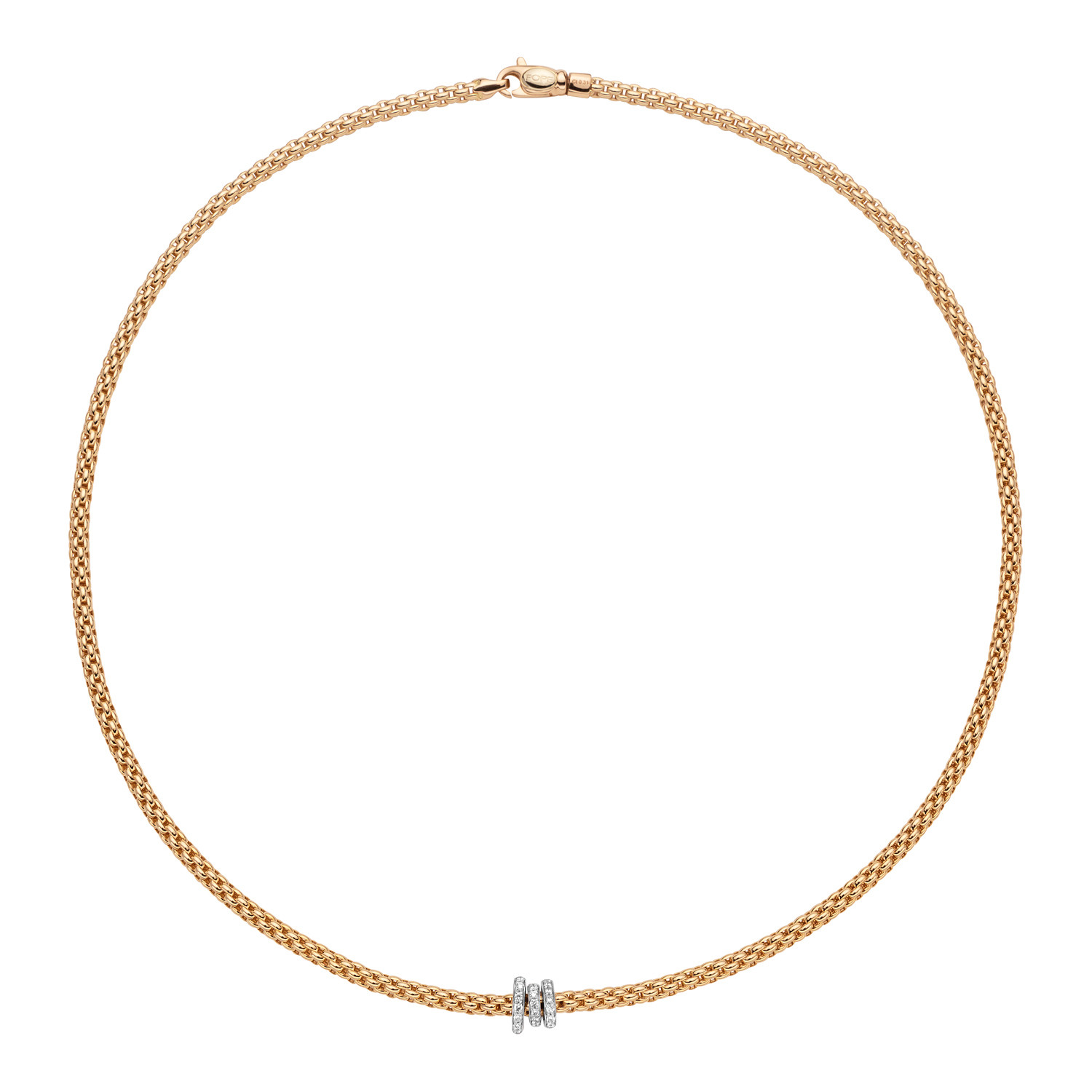 Fope Flex It Prima Diamond Station Rondelle Necklace